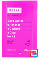 Protein Bars, Mixed Berry, RXBAR, 12 Bars, 1.83 oz (52 g) Each
