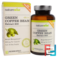 Green Coffee Bean Extract 800, NatureWise, 60 Veggie Caps