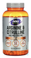 Arginine & Citrulline, Now Foods, 250 mg, 240 Veg Capsules