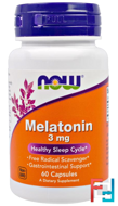 Melatonin, Now Foods, 3 mg, 60 capsules
