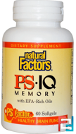 PS IQ Memory with EFA-Rich Oils, Natural Factors, 60 Softgels