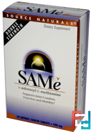 SAM-e (S-Adenosyl-L-Methionine), 400 mg, Source Naturals, 30 Enteric Coated Tablets