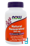 Natural Resveratrol, Now Foods, 200 mg, 120 Veg Capsules