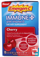 Immune Plus with Vitamin D, Cherry, 10 Packets, Emergen-C, 0.31 oz, 8.7 g