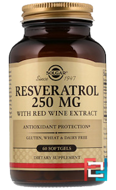 Resveratrol, Solgar, 250 mg, 60 Softgels