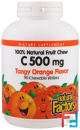 C 500 mg, Tangy Orange Flavor, Natural Factors, 90 Chewable Wafers