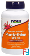 Pantethine, Double Strength, 600 mg, Now Foods, 60 Softgels