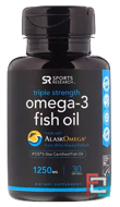Omega-3 Fish Oil, Triple Strength, Sports Research, 1250 mg, 30 Softgels