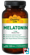 Melatonin, Country Life, 1 mg, 120 Tablets