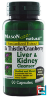 Milk Thistle/Cranberry, Liver & Kidney Cleanser, Mason Naturals, 60 Capsules