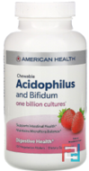 Chewable Acidophilus and Bifidum, Natural Strawberry Flavor, American Health, 100 Wafers