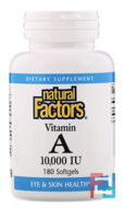 Vitamin A, 10,000 IU, Natural Factors, 180 Softgels