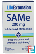 SAMe (S-Adenosyl-L-Methionine), 200 mg, Life Extension, 30 Enteric Coated Tablets