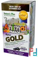 Source of Life Animal Parade, Gold, Children's Chewable Multi-Vitamin & Mineral Supplement, Natural Grape Flavor, Nature's Plus, 120 Animals