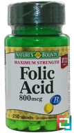 Folic Acid, Maximum Strength, 800 mcg, Nature's Bounty, 250 Tablets