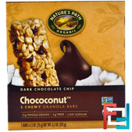 Chococonut, Chewy Granola Bars, Dark Chocolate Chip, Nature's Path, 5 Bars, 1.2 oz (35 g) Each