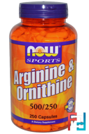 Arginine & Ornithine, Now Foods, 500 mg / 250 mg, 250 capsules