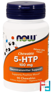 5-HTP, Chewable, Natural Citrus Flavor, Now Foods, 100 mg, 90 Chewables