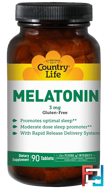 Melatonin, Country Life, 3 mg, 90 Tablets
