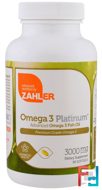 Omega 3 Platinum, Advanced Omega 3 Fish Oil, 3000 mg, Zahler, 90 Softgels