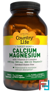 Calcium-Magnesium with Vitamin D Complex, Country Life, 240 Vegan Capsules