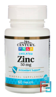 Zinc, Chelated, 21st Century, 50 mg, 60 Tablets