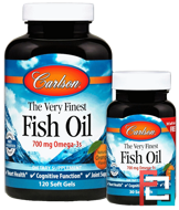 The Very Finest Fish Oil, Natural Orange, Carlson Labs, 1,000 mg, 2 Bottles, 120+30 Softgels