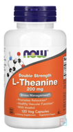 L-Theanine, Double Strength, Now Foods, 200 mg, 120 Veg Capsules