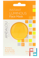 Instant Luminous, Turmeric & Gold Clay Face Mask, .Andalou Naturals, 28 oz, 8 g