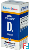 Extra Strength Vitamin D3, Superior Source, 1 000 IU, 100 MicroLingual Instant Dissolve Tablets