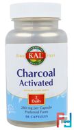 Charcoal Activated, KAL, 280 mg, 50 Capsules