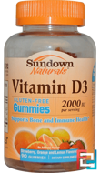 Vitamin D3, Strawberry, Orange, and Lemon Flavored, 2000 IU, Sundown Naturals, 90 Gummies