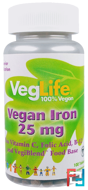 Vegan Iron, VegLife, 25 mg, 100 Tablets