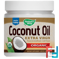 Organic Coconut Oil, Extra Virgin, Nature's Way, 16 oz, 448 g