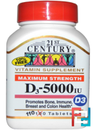Maximum Strength D3, 21st Century, 5000 IU, 110 Tablets