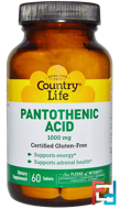 Pantothenic Acid, Country Life, 1000 mg, 60 Tablets