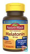 Melatonin Fast Dissolve, Nature Made, Mixed Berry, 10 mg, 45 Tablets