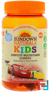 Kids, Disney Cars 3, Complete Multivitamin, Grape, Orange & Cherry, Sundown Naturals Kids, 60 Gummies