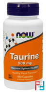 Taurine, Now Foods, 500 mg, 100 Capsules