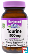 Taurine, Bluebonnet Nutrition, 1000 mg, 50 Veggie Caps