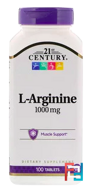 L-Arginine, Maximum Strength, 21st Century, 1000 mg, 100 Tablets