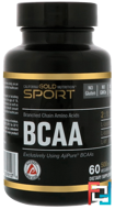 BCAA, AjiPure, Branched Chain Amino Acids, Gluten Free, California Gold Nutrition, CGN, 500 mg, 60 Veggie Caps