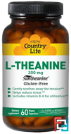 L-Theanine, Country Life, 200 mg, 60 Vegan Caps