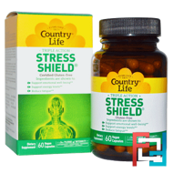 Stress Shield, Triple Action, Country Life, 60 Vegan Caps