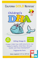 Children's DHA, Strawberry-Lemon Flavor, California Gold Nutrition, CGN, 525 mg Omega-3s, 8 fl oz (237 ml)