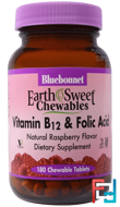 EarthSweet Chewables, Vitamin B-12 & Folic Acid, Natural Raspberry Flavor, Bluebonnet Nutrition, 180 Chewable Tablets