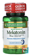 Melatonin, Nature's Bounty, Natural Cherry Flavor, 3 mg, 120 Quick Dissolve Tablets