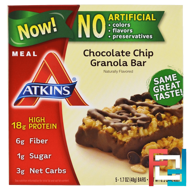 Meal, Chocolate Chip Granola Bar, Atkins, 5 Bars, 1.7 oz (48 g) Each