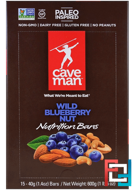 Nutrition Bars, Wild Blueberry Nut, Caveman Foods, 15 Bars, 1.4 oz (40 g) Each