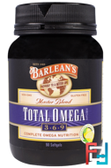 Total Omega 3 · 6 · 9, Master Blend, Lemonade Flavor, Barlean's, 90 Softgels